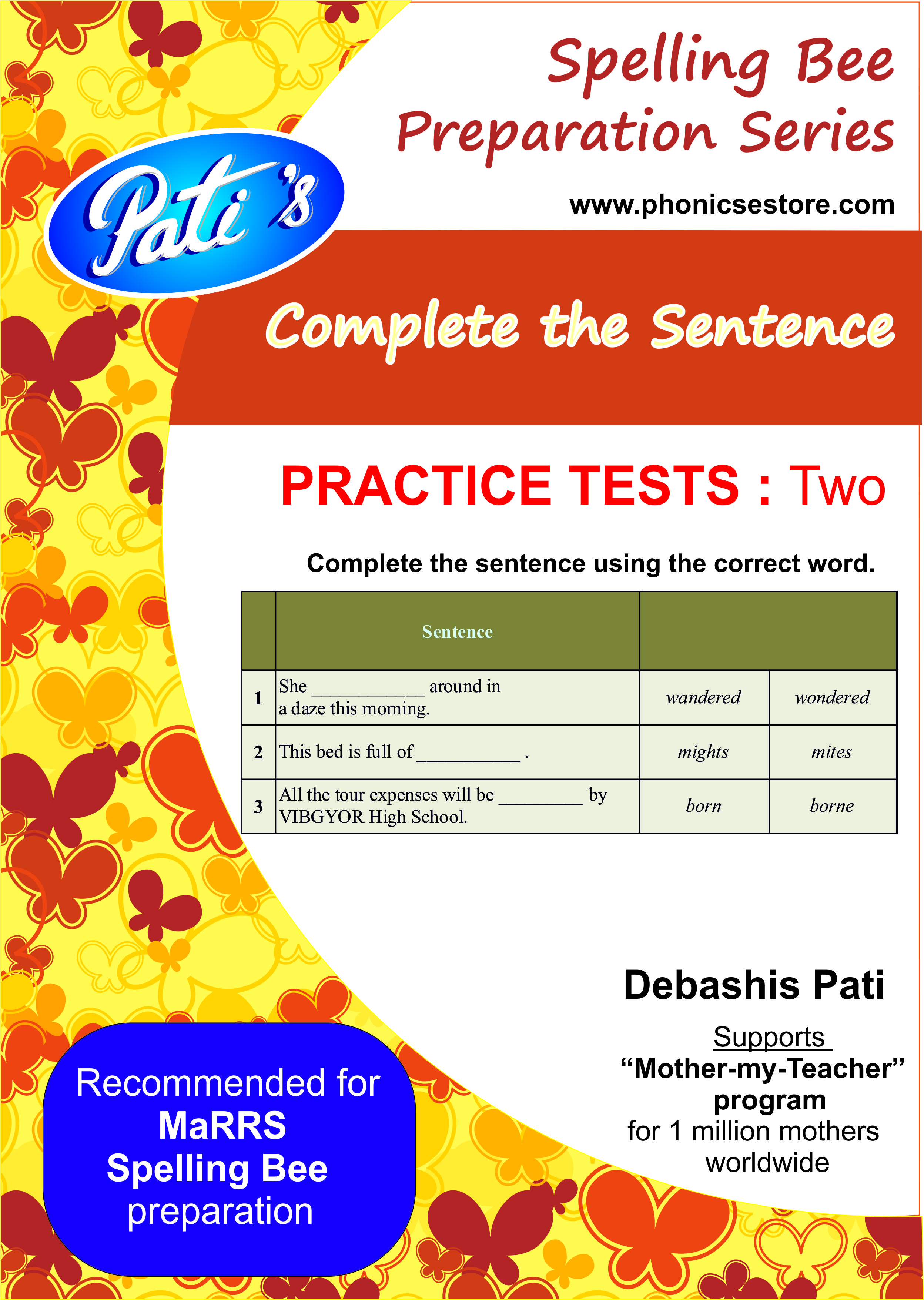complete the sentence marrs spelling bee sample test paper